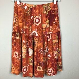 Skirts - Orange, Green & Cream Floral Ruffled Midi Skirt M